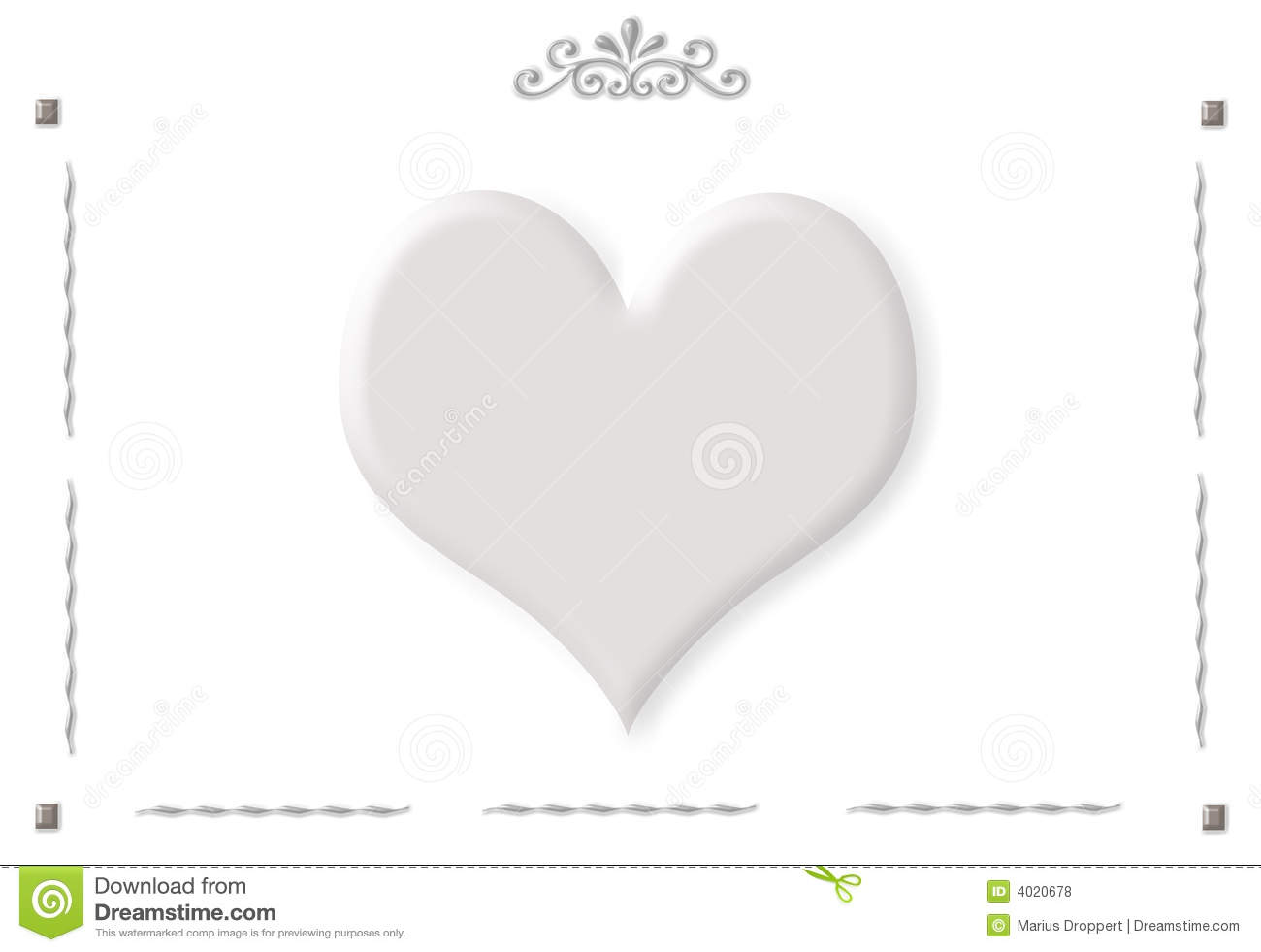 Frame With Ornaments And One Big Grey Heart Stock Illustration ...