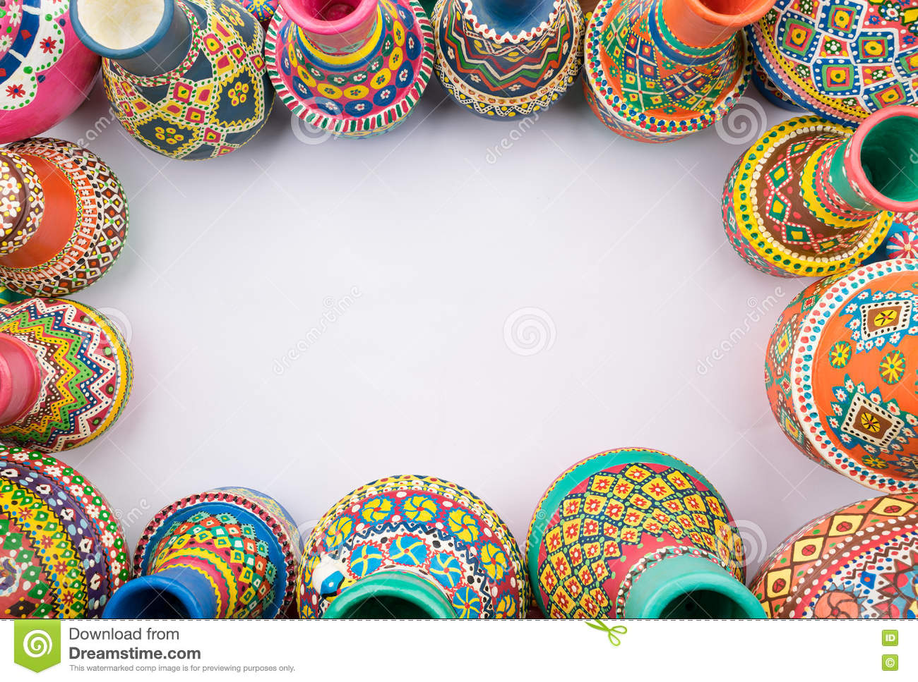 Frame Of Painted Pottery Vases On White Background Stock Image ...