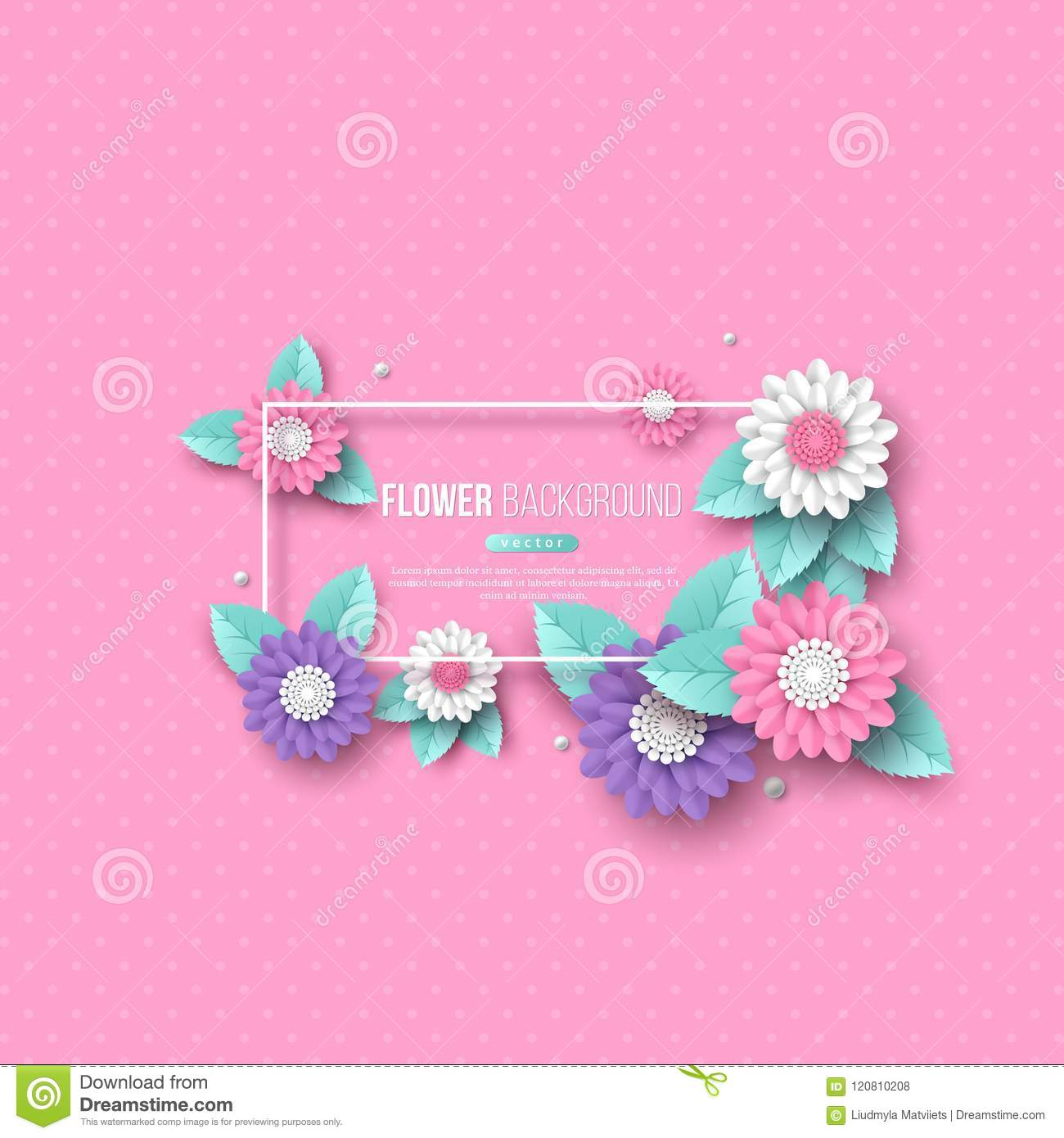 Frame With Paper Cut 3d Flower In Pink White And Violet Colors
