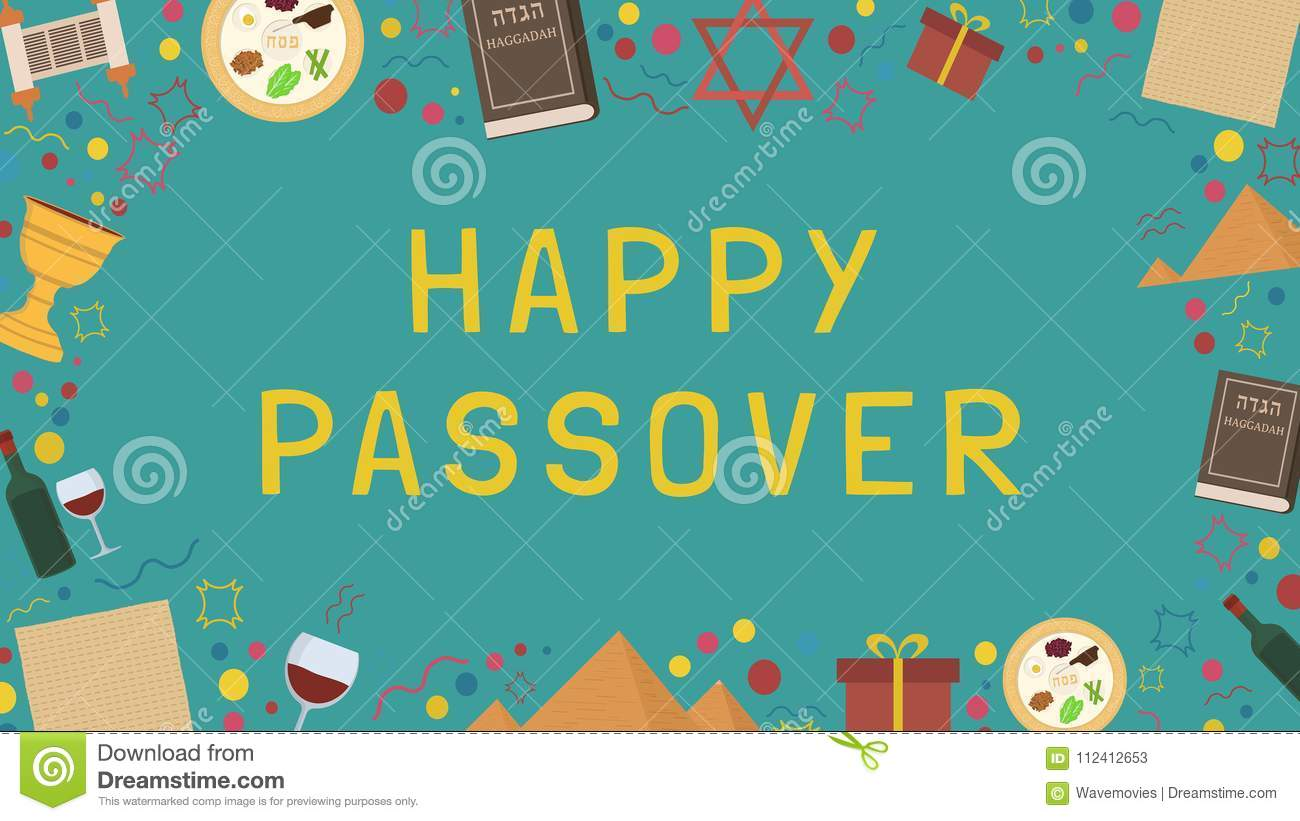 Frame With Passover Holiday Flat Design Icons With Text In Engli