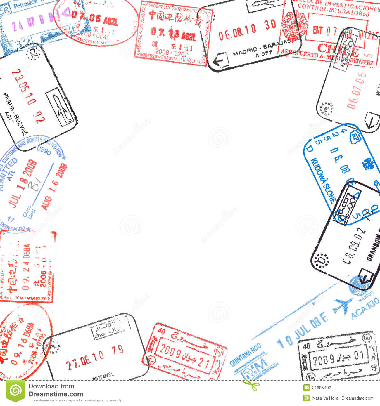 Frame From Passport Visa Stamps Stock Photography Image 31685492