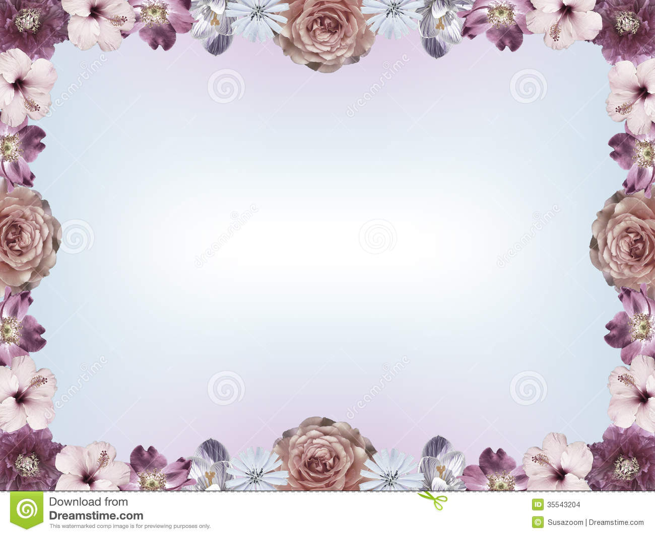 Frame With Pastel Colored Flowers And Color Gradient Copy Space Stock ...