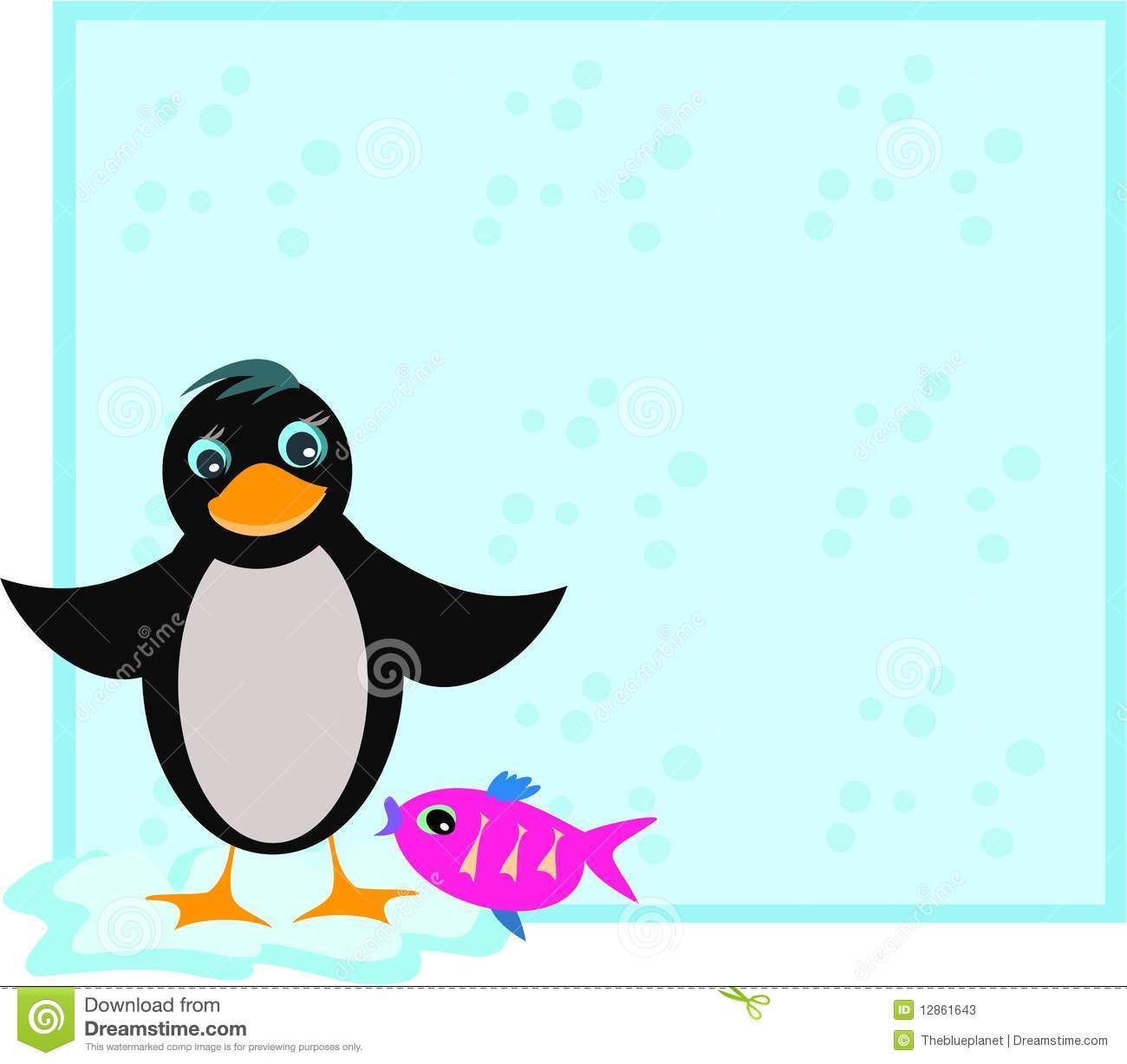 Frame with penguin and fish stock photos image 12861643 for Penguin and fish