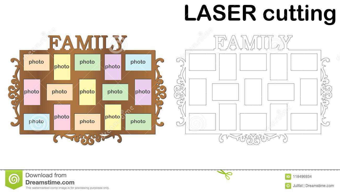 Frame For Photos With Inscription `Family` For Laser Cutting ...