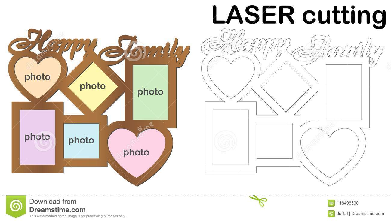 Frame For Photos With Inscription `Happy Family` For Laser Cutting ...