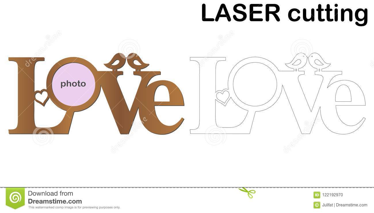 Frame For Photos With Inscription `Love` For Laser Cutting. Collage ...