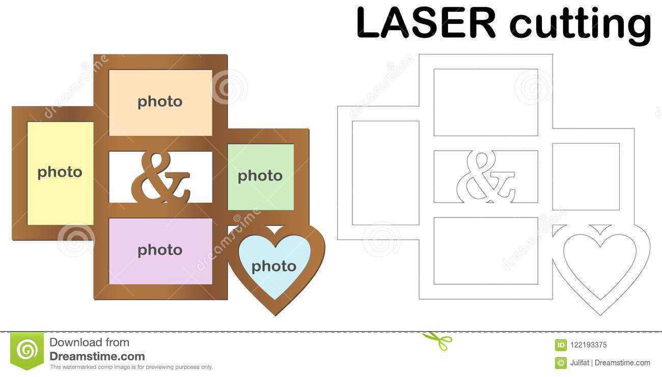 Frame For Photos For Laser Cutting. Collage Of Photo Frames ...