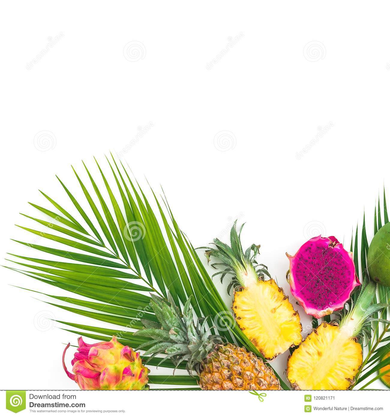 Frame Of Pineapple And Dragon Fruits With Palm Leaf On White ...