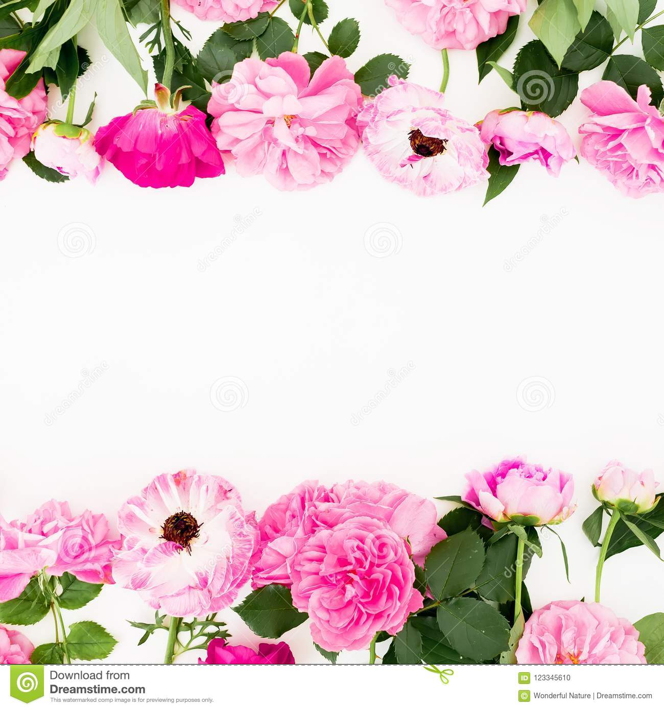 Frame with pink flowers on white background flat lay top view frame with pink flowers on white background flat lay top view pastel flowers mightylinksfo