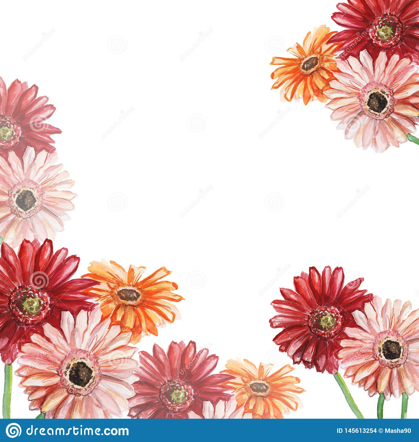 Frame with pink, red and orange gerberas. Watercolor illustration.