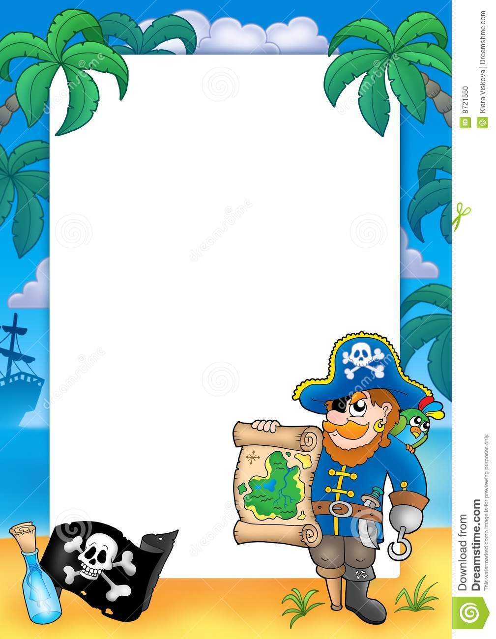 Pirate Frame With Sailboat At Night Royalty-Free Cartoon ...