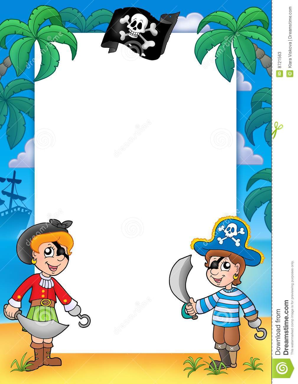 Frame With Pirate Boy And Girl Stock Illustration Illustration Of