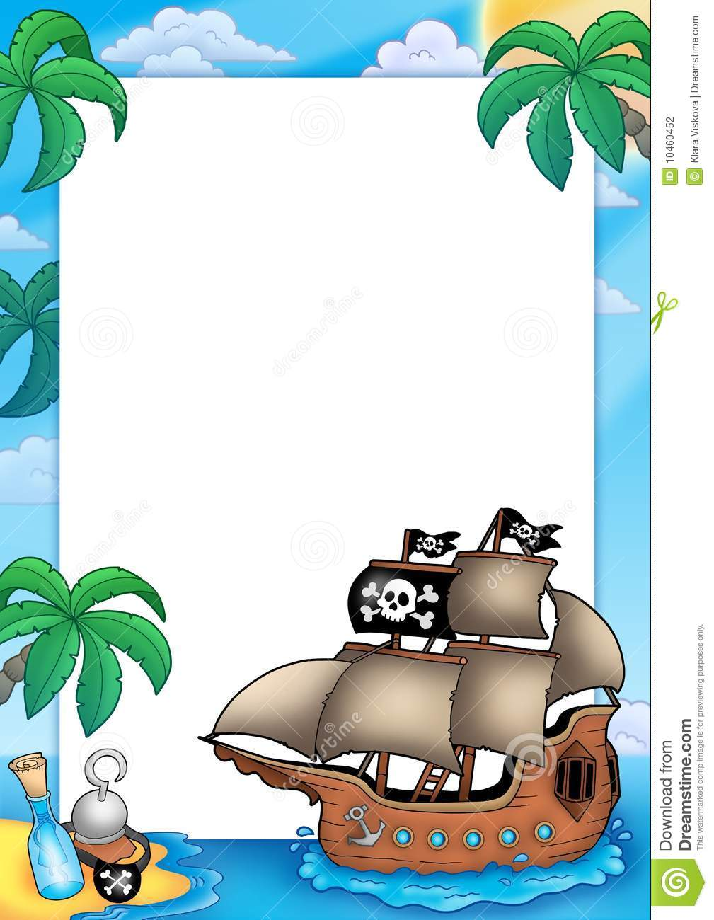 Frame with pirate ship stock illustration. Illustration of ...