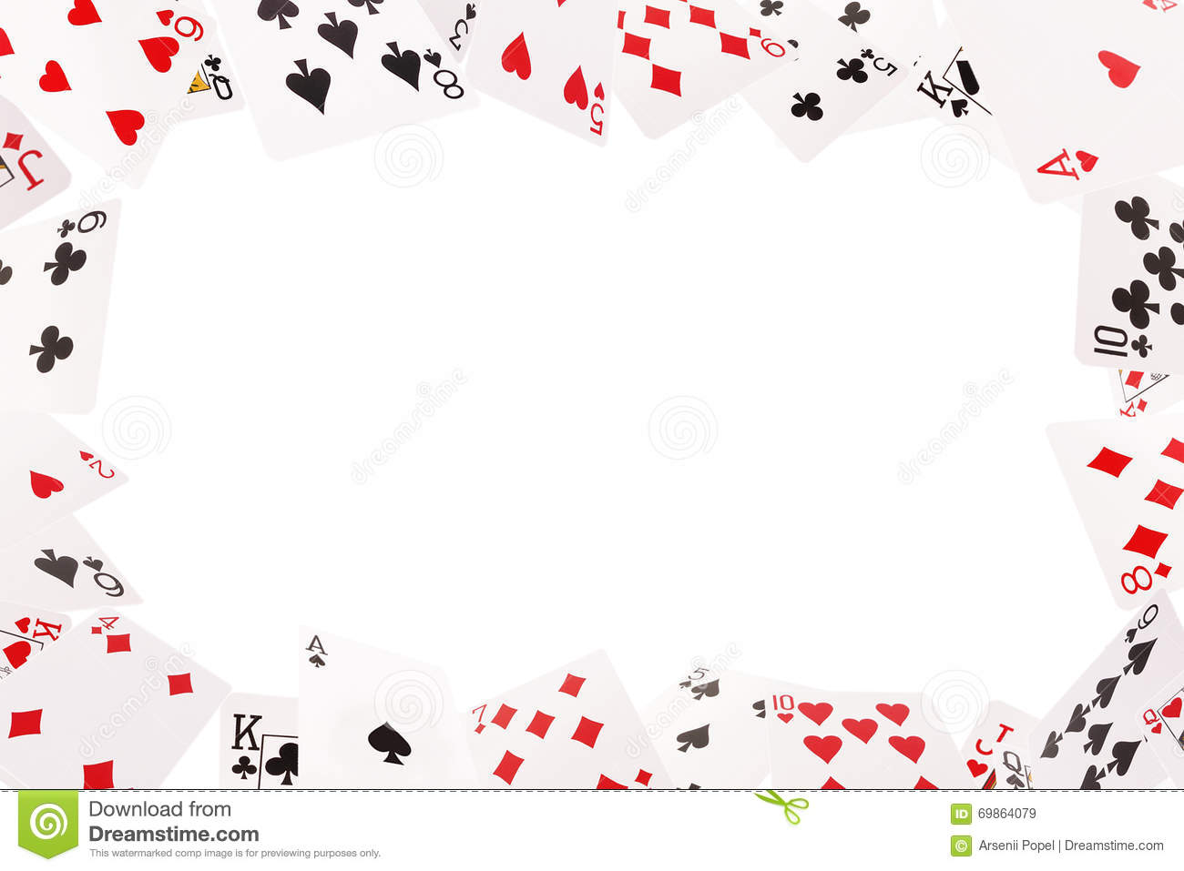 Frame Of Playing Cards On A White Background Stock Photo Image
