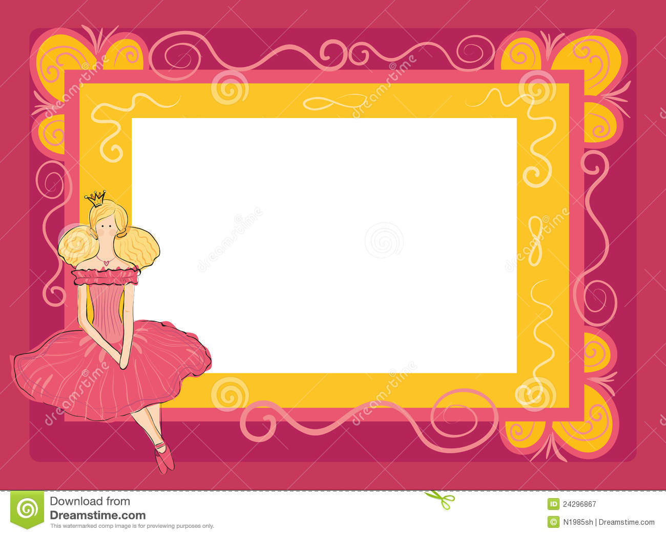 Frame with princess stock illustration. Illustration of fairytale ...
