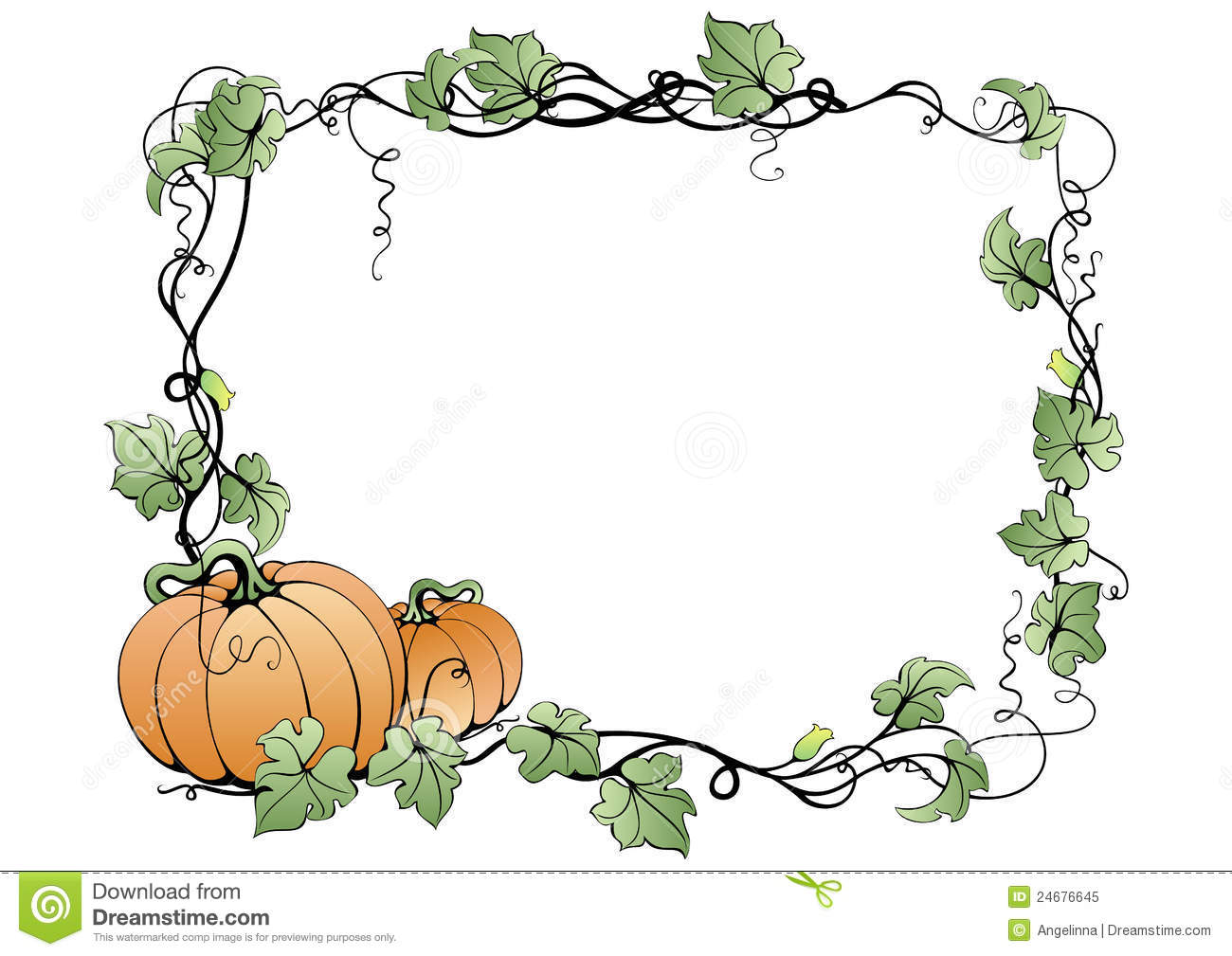 Frame With Pumpkins And Leaves Royalty Free Stock Photo