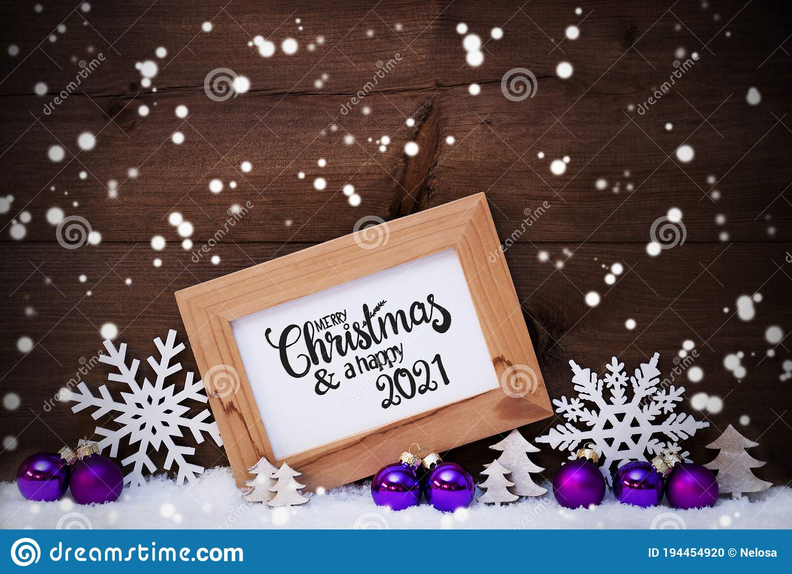 Closed For Christmas 2021 Purple Ornements Pics Frame Purple Ball Tree Snow Snowflakes Merry Christmas And A Happy 2021 Stock Photo Image Of Tree Calligraphy 194454920