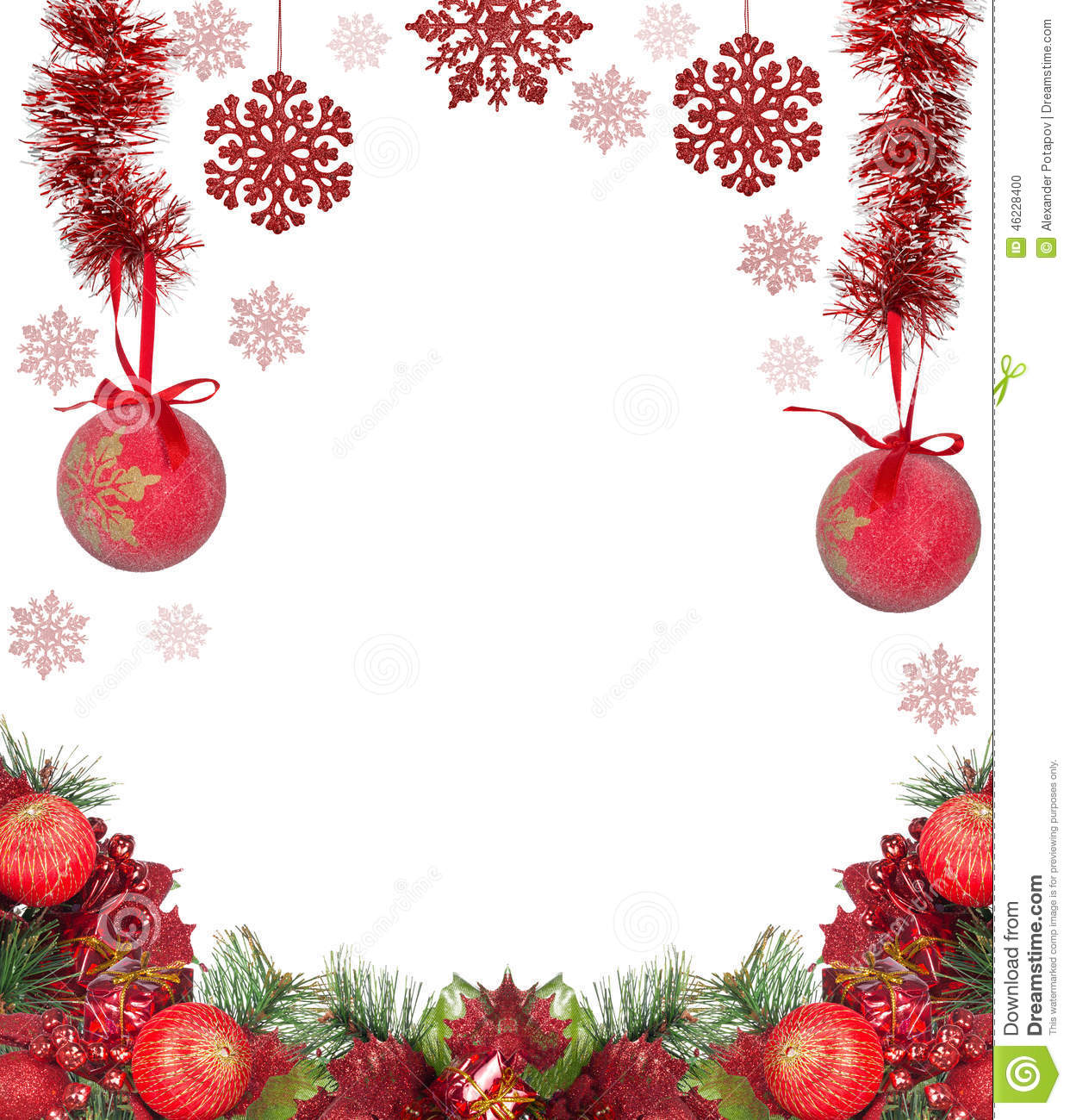 Red and white christmas decorations - Frame From Red Christmas Decorations Isolated On White Stock Photo