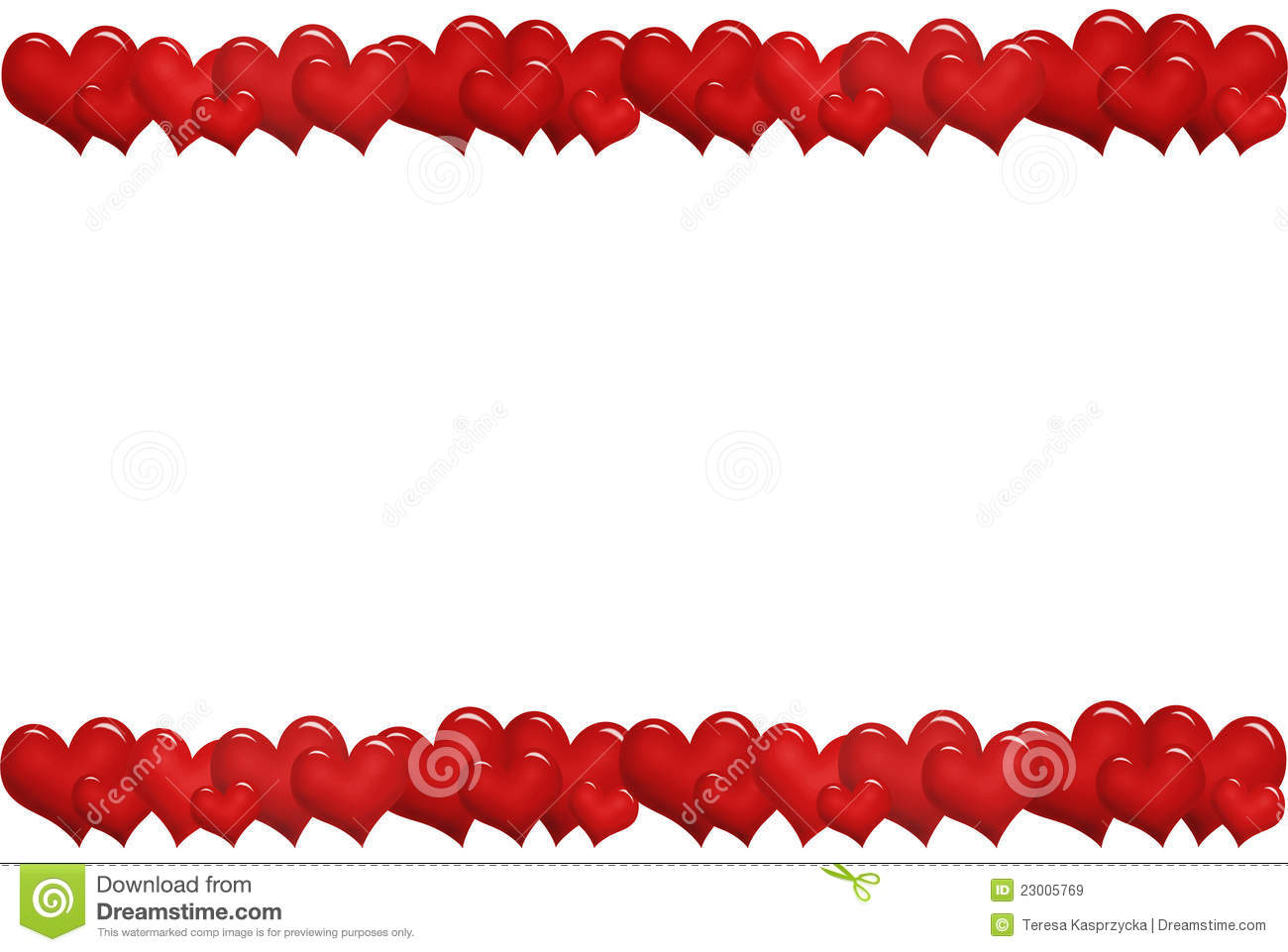 Frame With Red Hearts In A Row Royalty Free Stock Images - Image ...