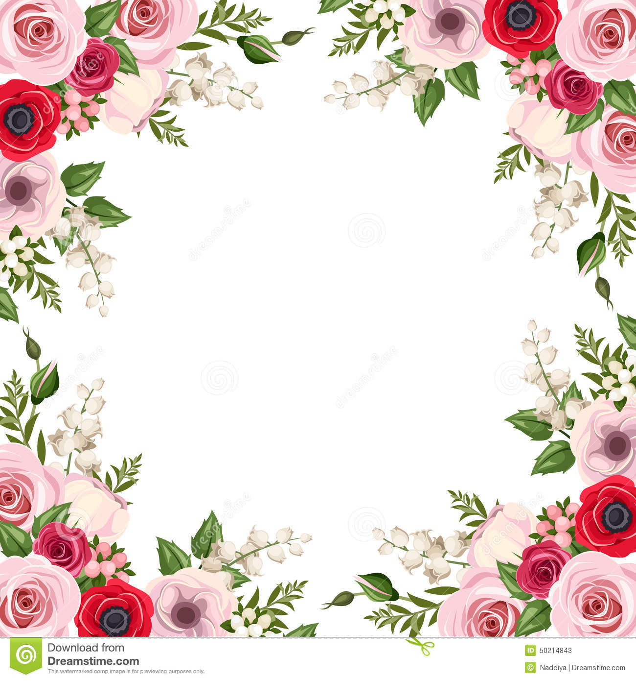 Frame with red and pink roses, lisianthus and anemone flowers and lily of the valley. Vector.