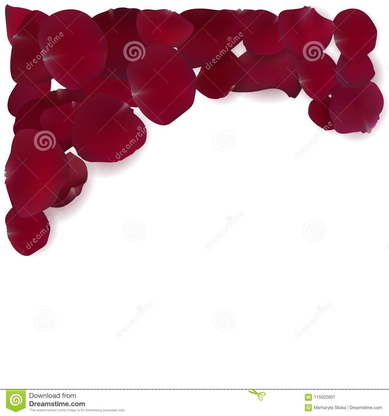 Frame of red rose petals. stock vector. Illustration of border ...