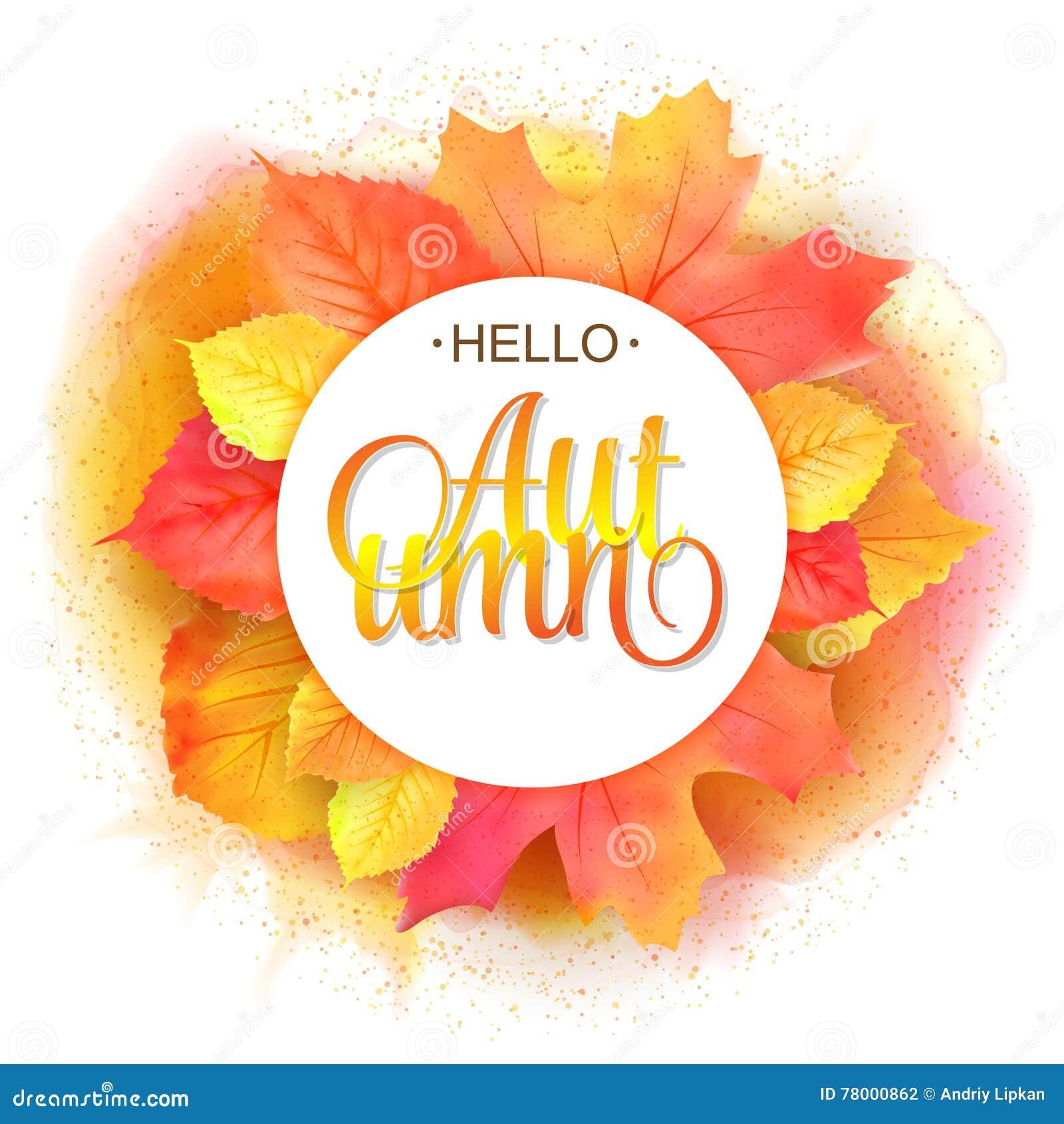Frame redondo outonal A grinalda da imitação amarela da aquarela do vermelho alaranjado sae Olá! rotulação do outono Projeto