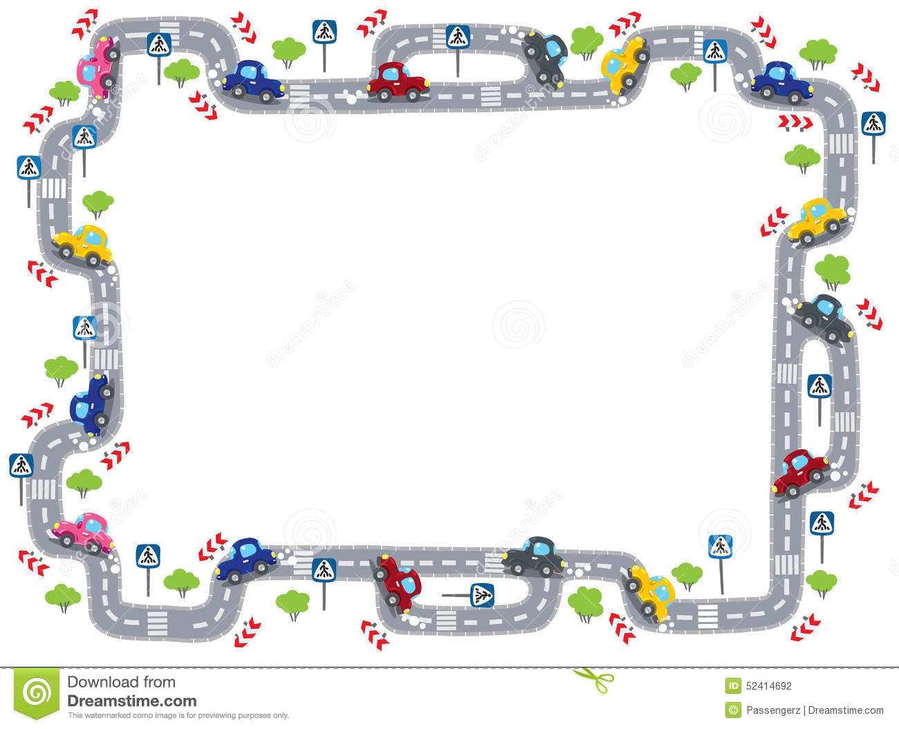 Frame With Road Stock Photo Image 52414692