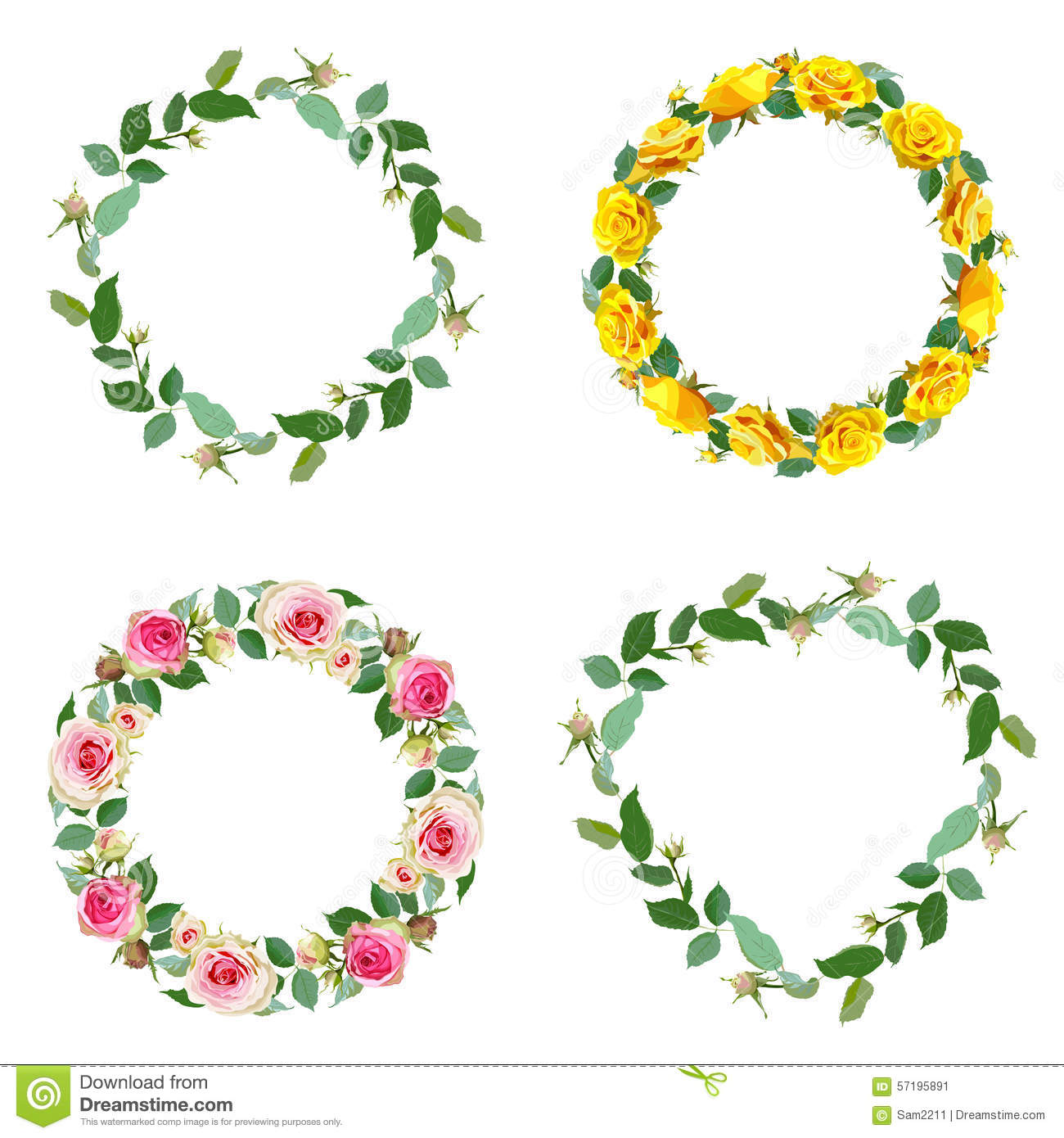 Frame With Rose Set Of Round Floral Borders Stock Vector