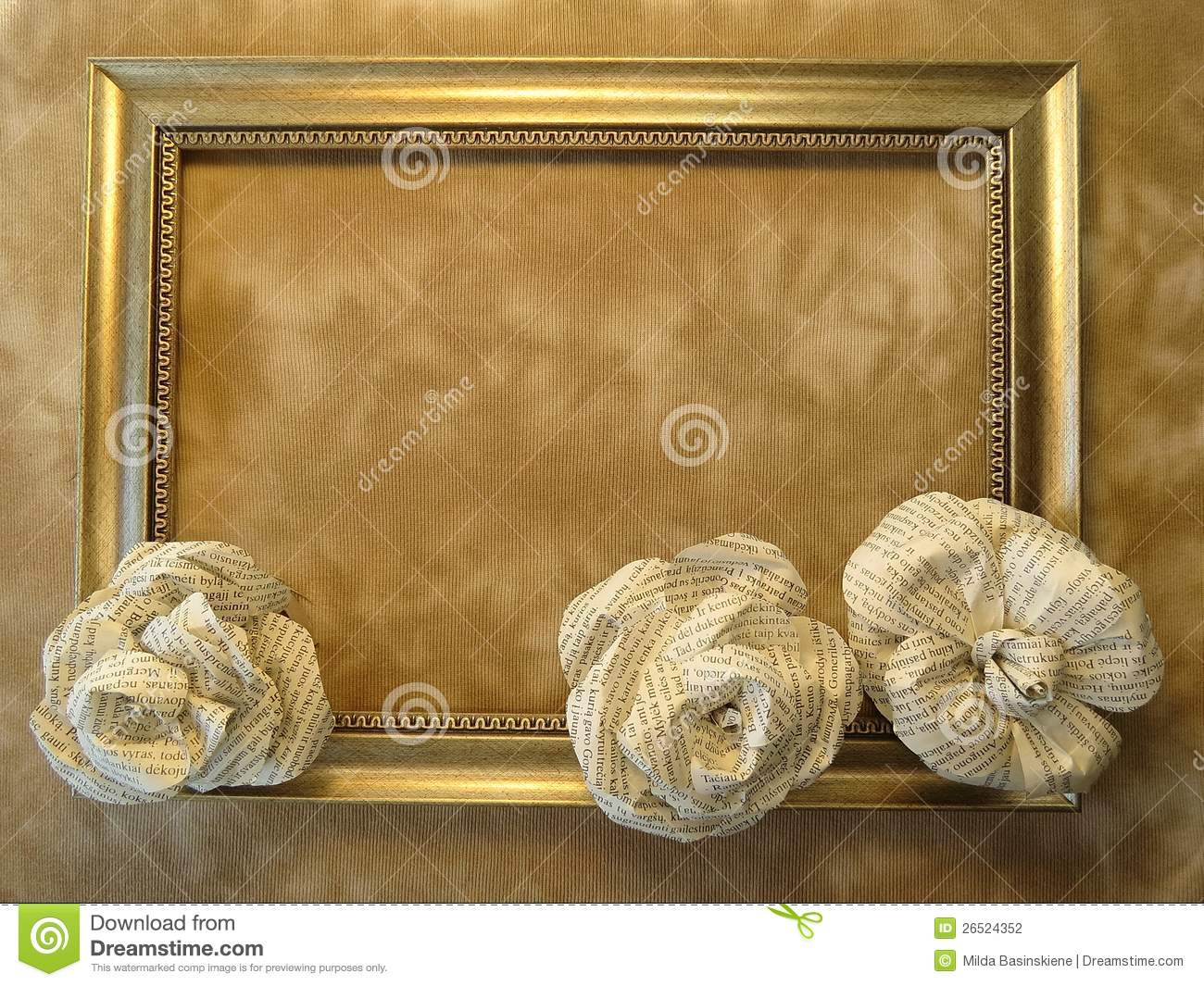 frame and roses made from newspaper