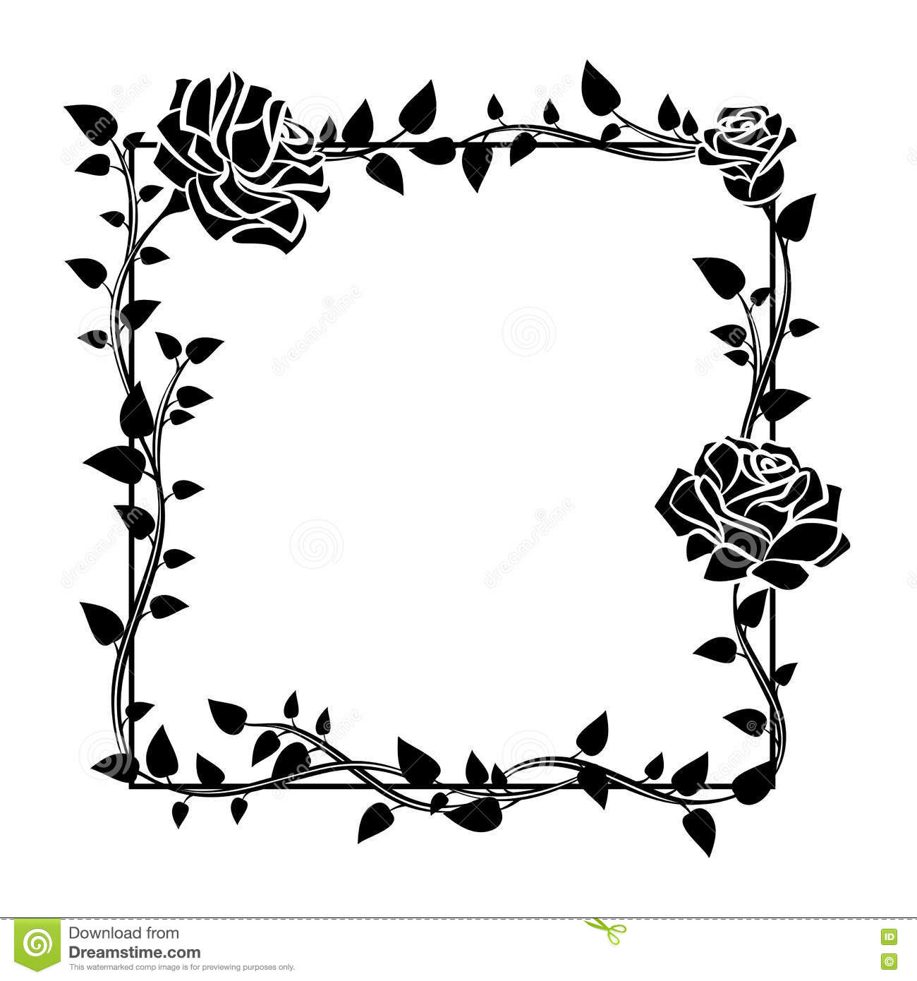 Vector Vintage Light Brown Beige Border Frame Floral Drawing ...