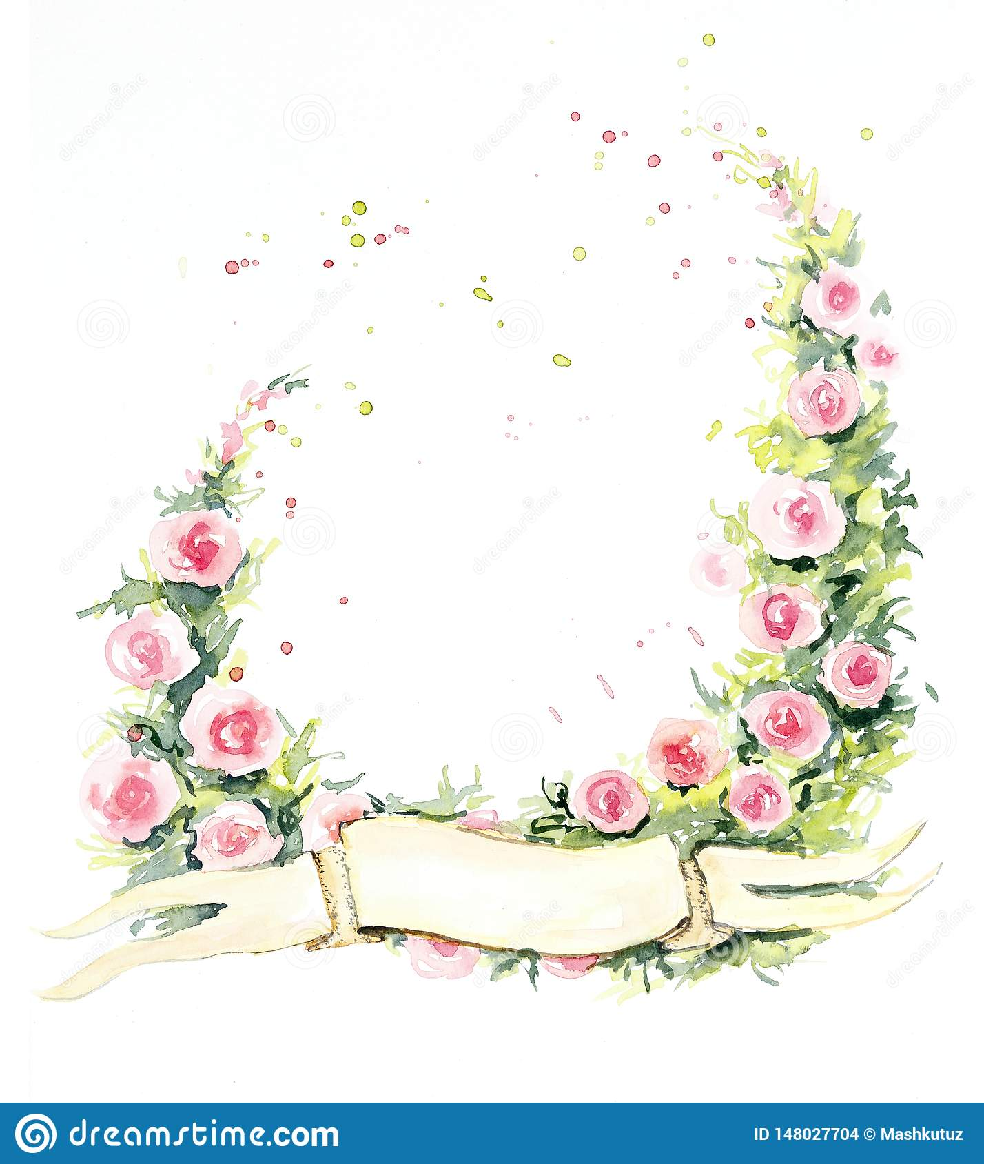Frame from roses. Wedding drawings. Flower backdrop. Watercolor hand drawn illustration