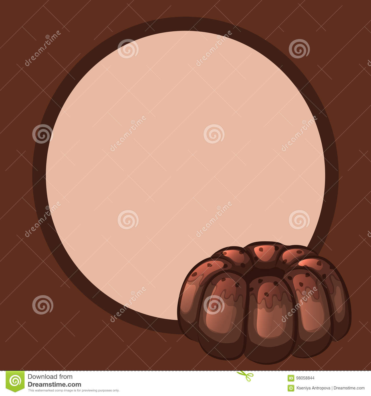 Frame And A Round Chocolate Cake Stock Vector Illustration Of