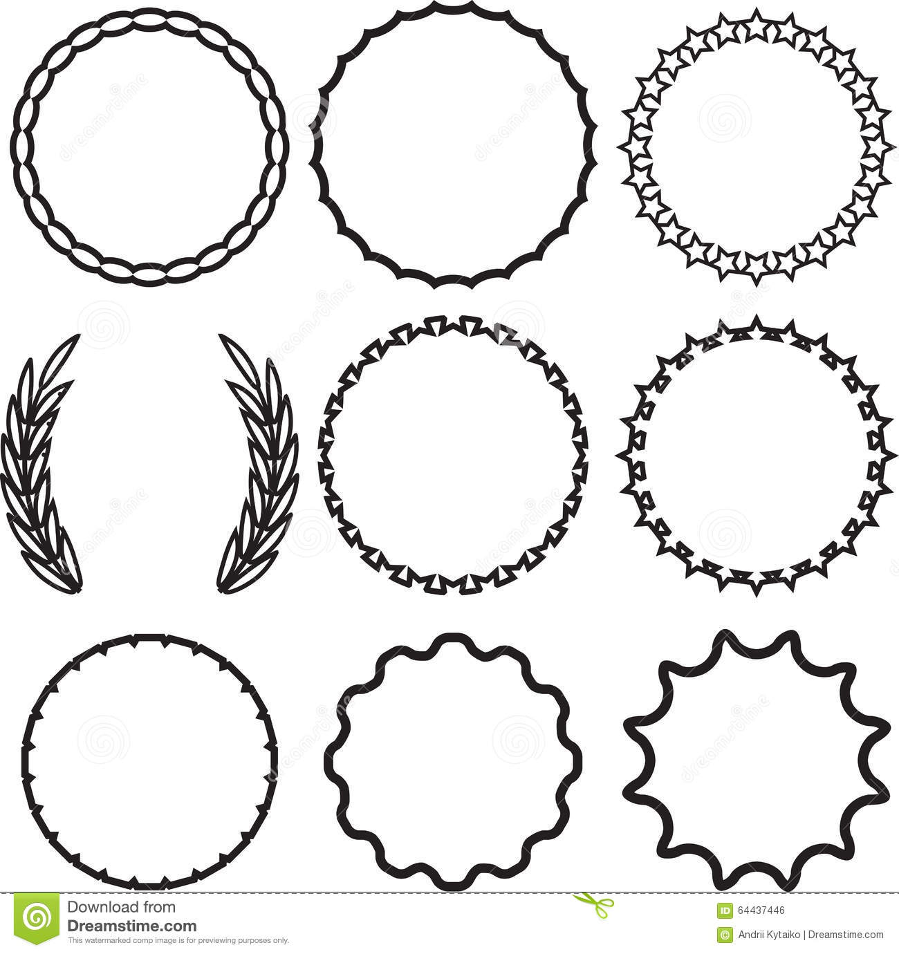 Frame Round Set Decoration Template Stock Vector Image
