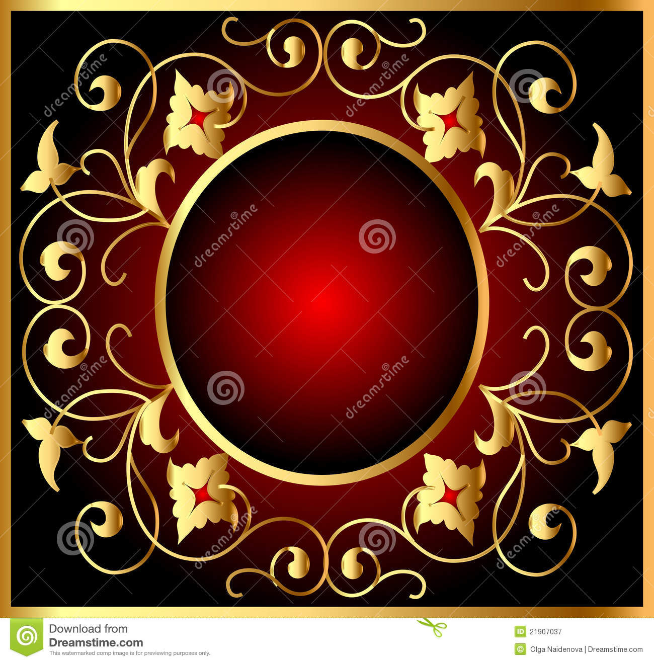 Royal Gold Picture Frame On The Dark Wallpaper Royalty Free Stock