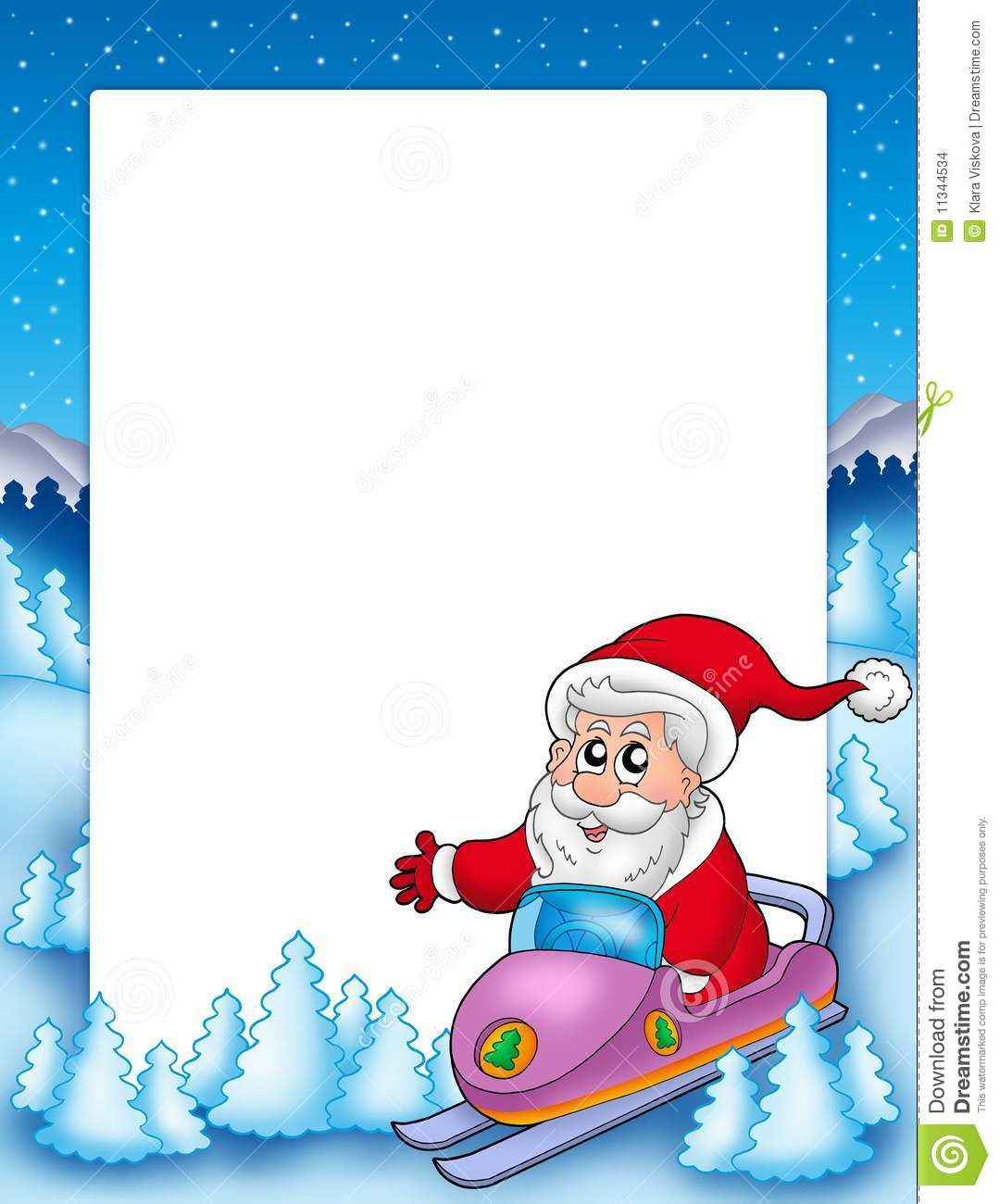 Frame with santa claus on scooter stock illustration frame with santa claus on scooter jeuxipadfo Choice Image