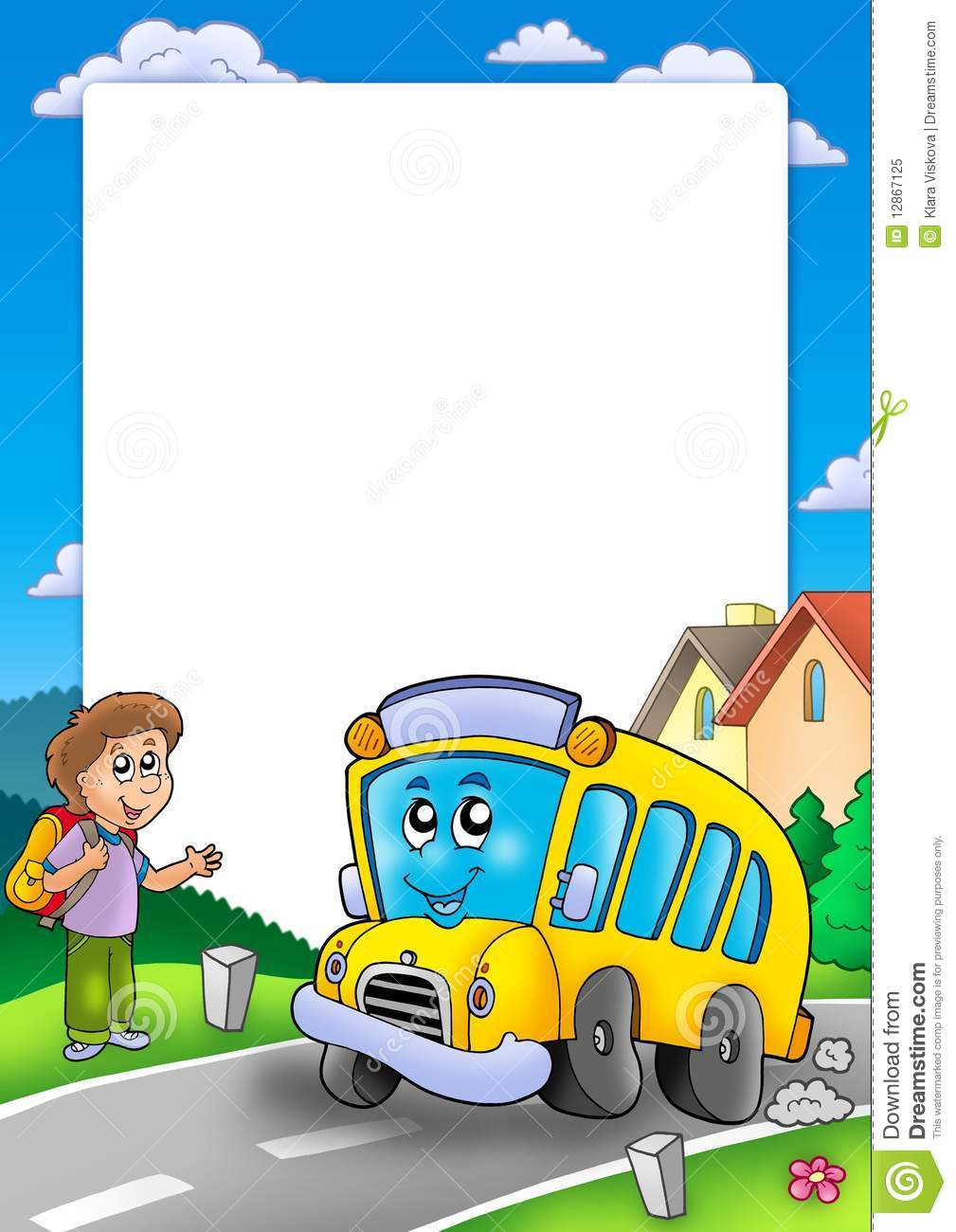 Frame With School Bus And Boy Stock Illustration