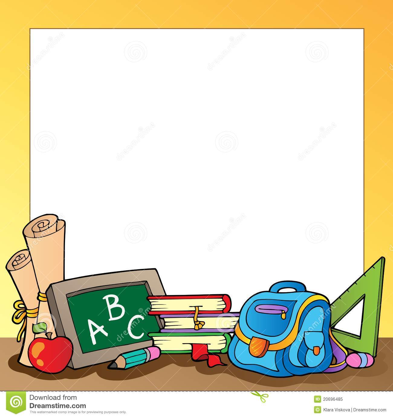 Frame With School Supplies 1 Stock Vector - Illustration of pencil ...