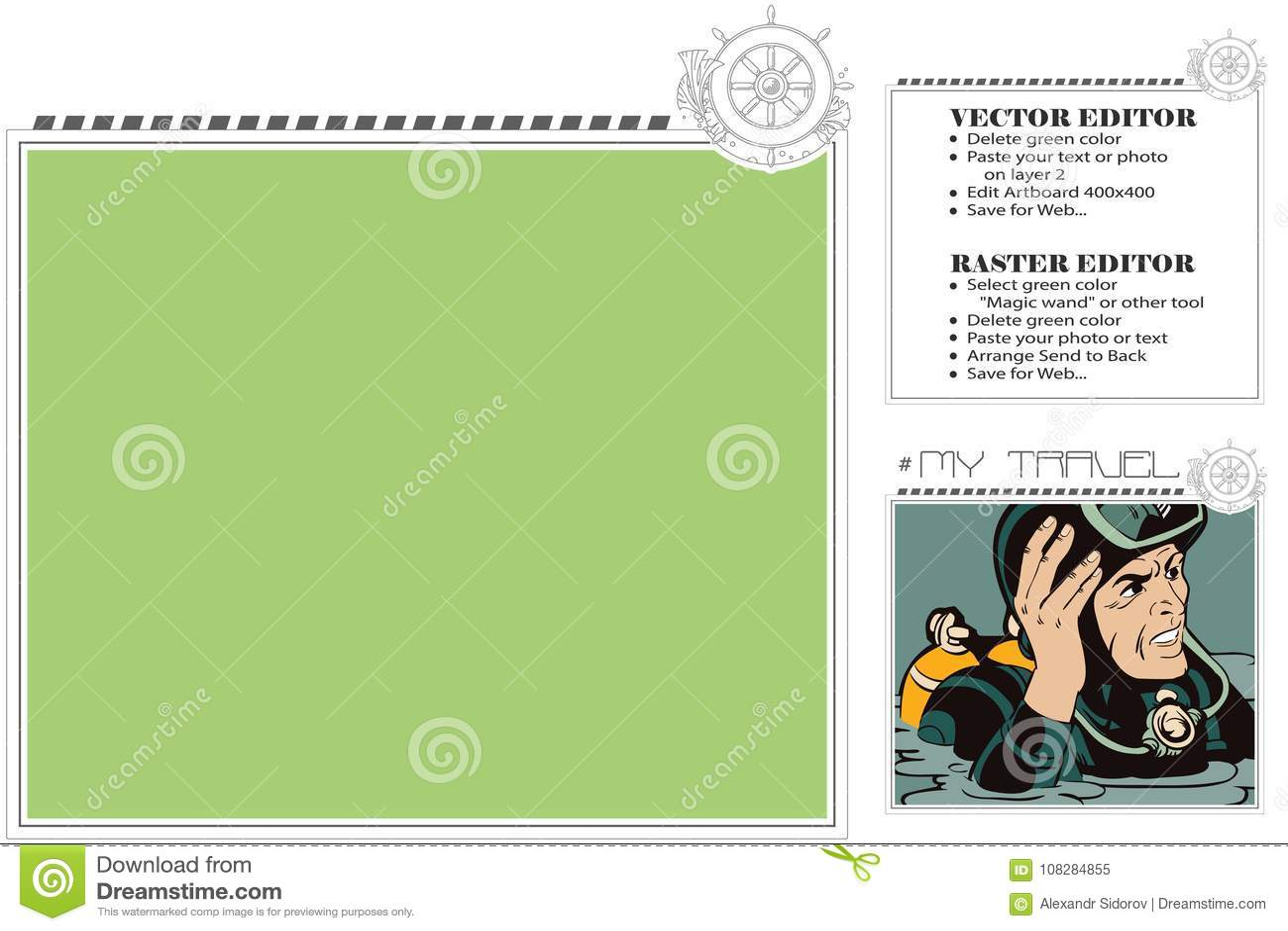 Marine Theme. Frame For Scrapbook, Banner, Sticker, Social Netwo ...