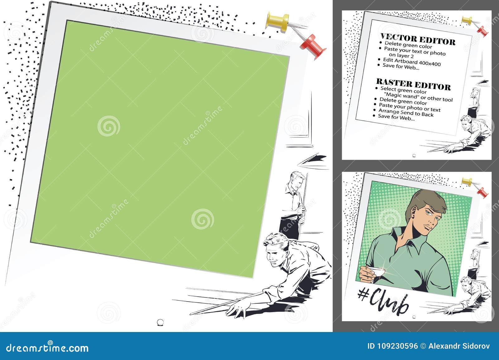 Player In Billiards. Frame For Scrapbook, Banner, Sticker, Socia ...