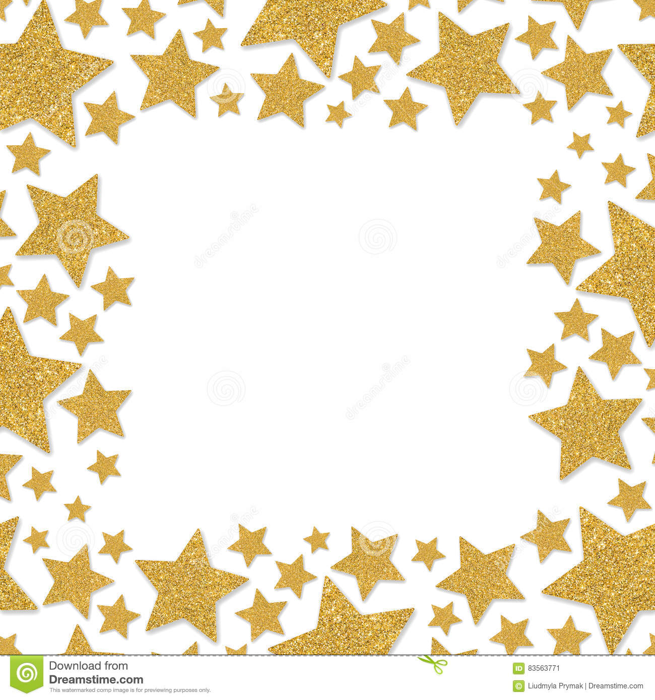 Frame With Shimmer Stars. Gold Sparkle Frame Of Star. Yellow ...