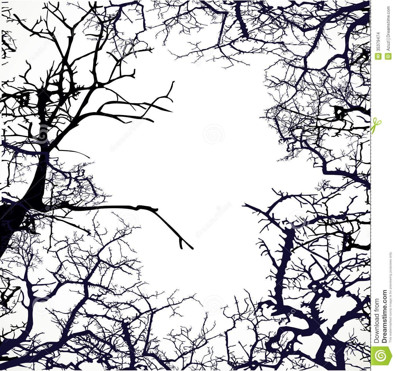 Frame From Silhouettes Of Bare Branches Of Trees Stock Images - Image ...