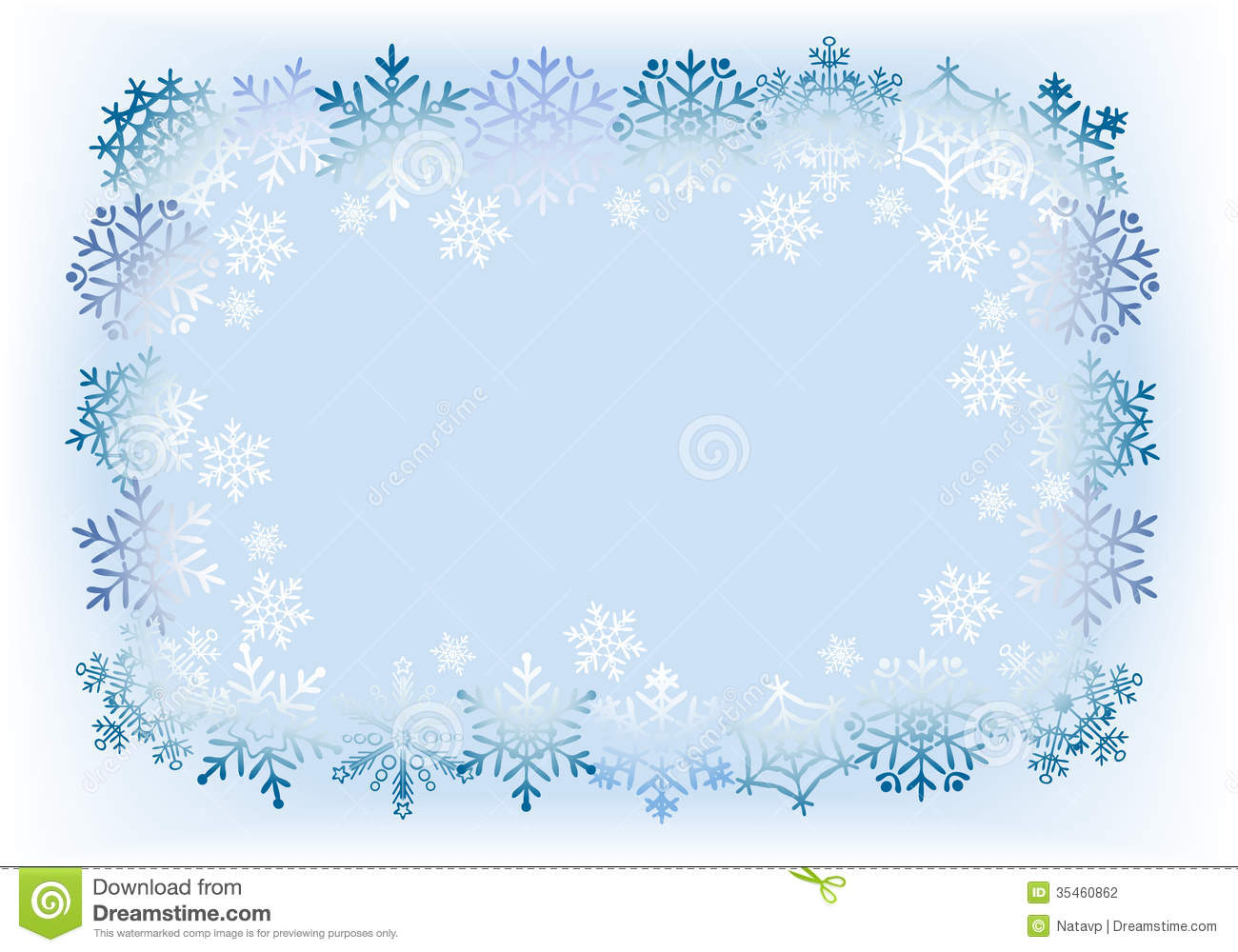 Frame From Snowflakes On Light Blue Background. Stock Photography ...