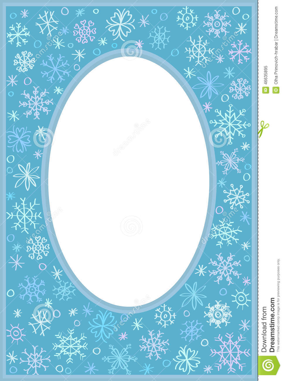 frame with snowflakes stock vector