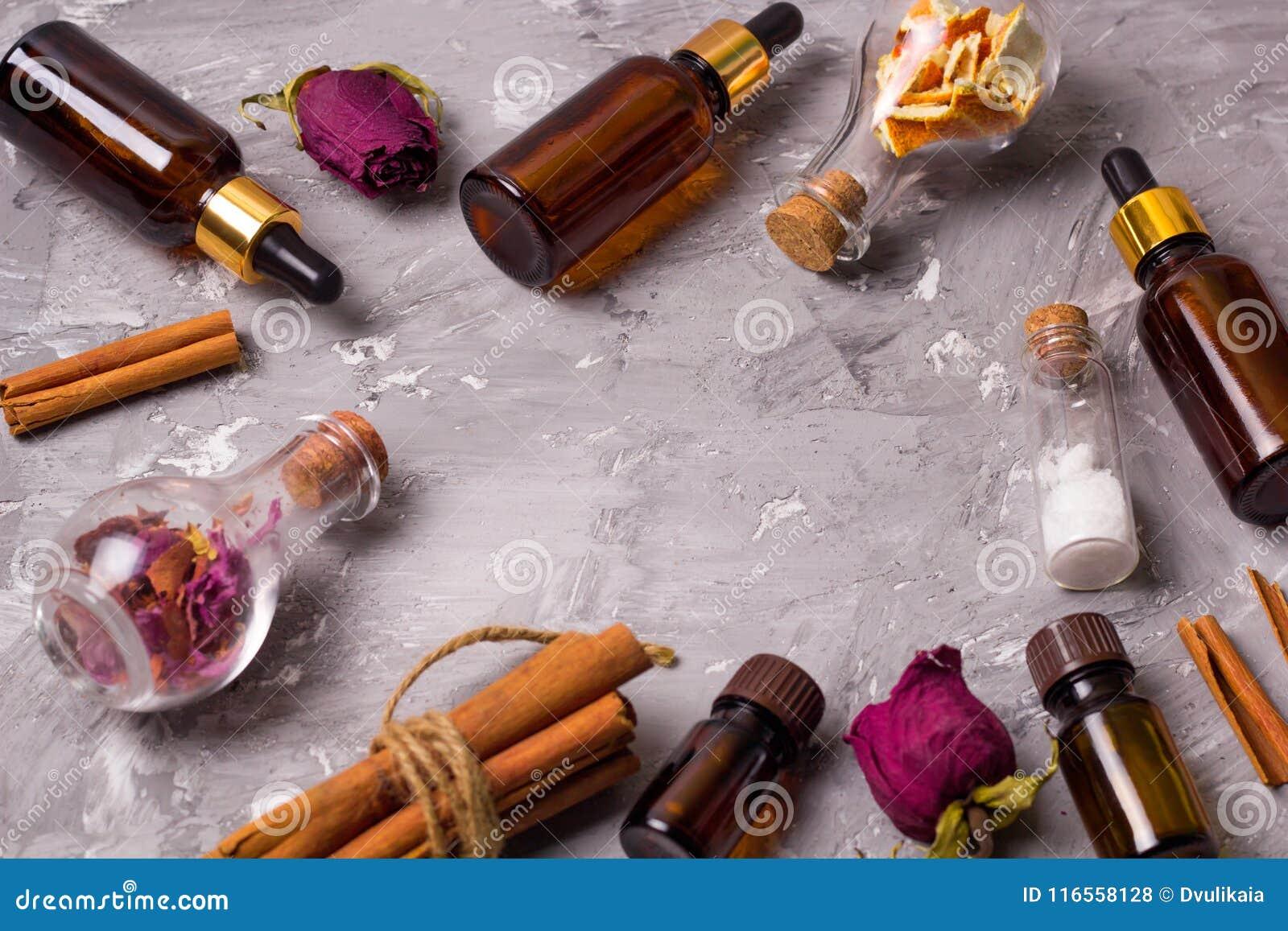 Frame with spa set bottles