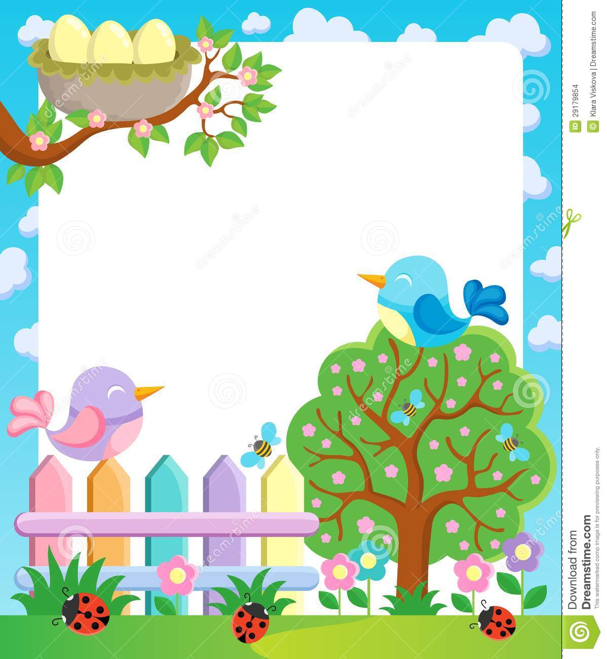 Frame with spring theme stock vector. Illustration of ladybug - 29179854