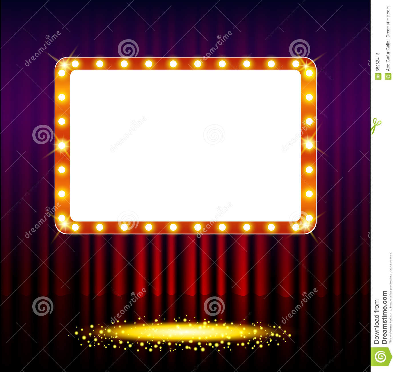 Red stage curtain with lights - Frame On Stage Curtain With Lights Stock Photos
