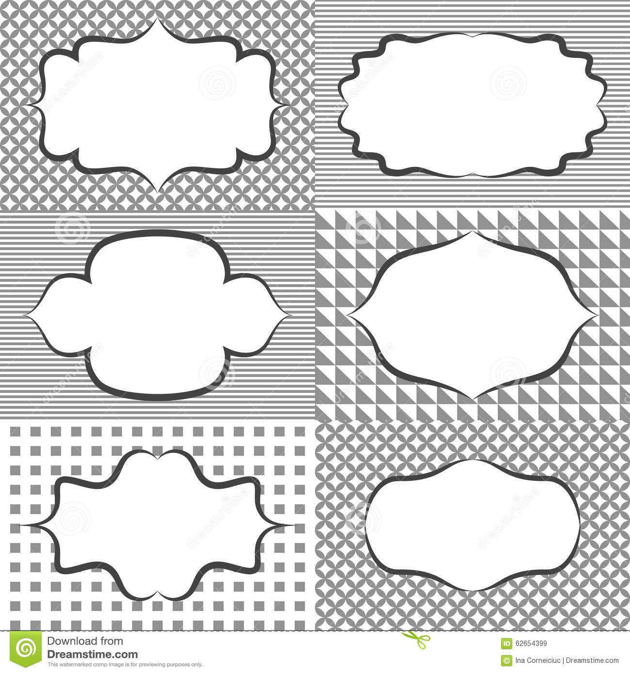frame sticker label tags card template blanks for stock vector
