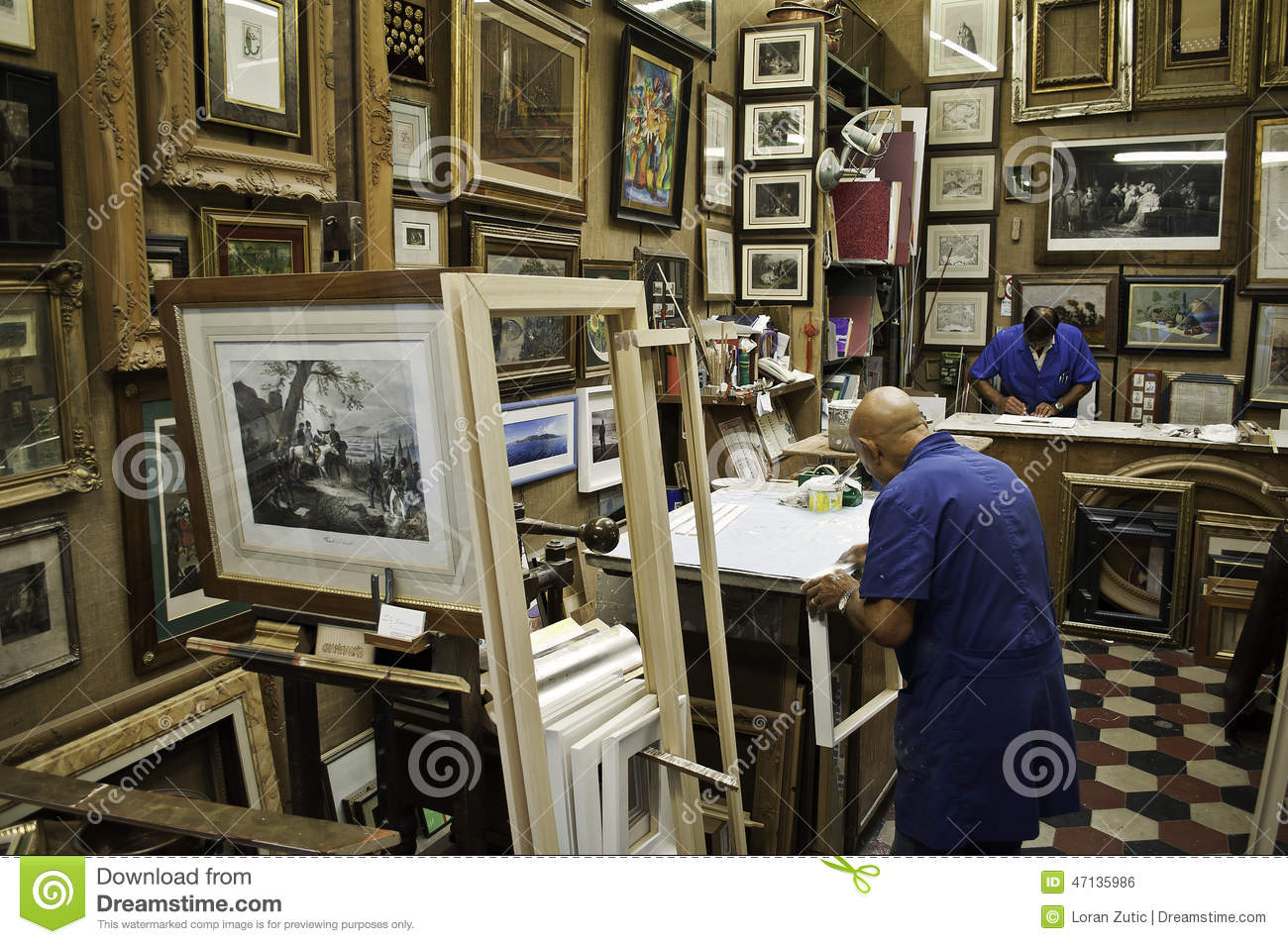 Frame Store And Two Workers Editorial Photo - Image of mostly ...