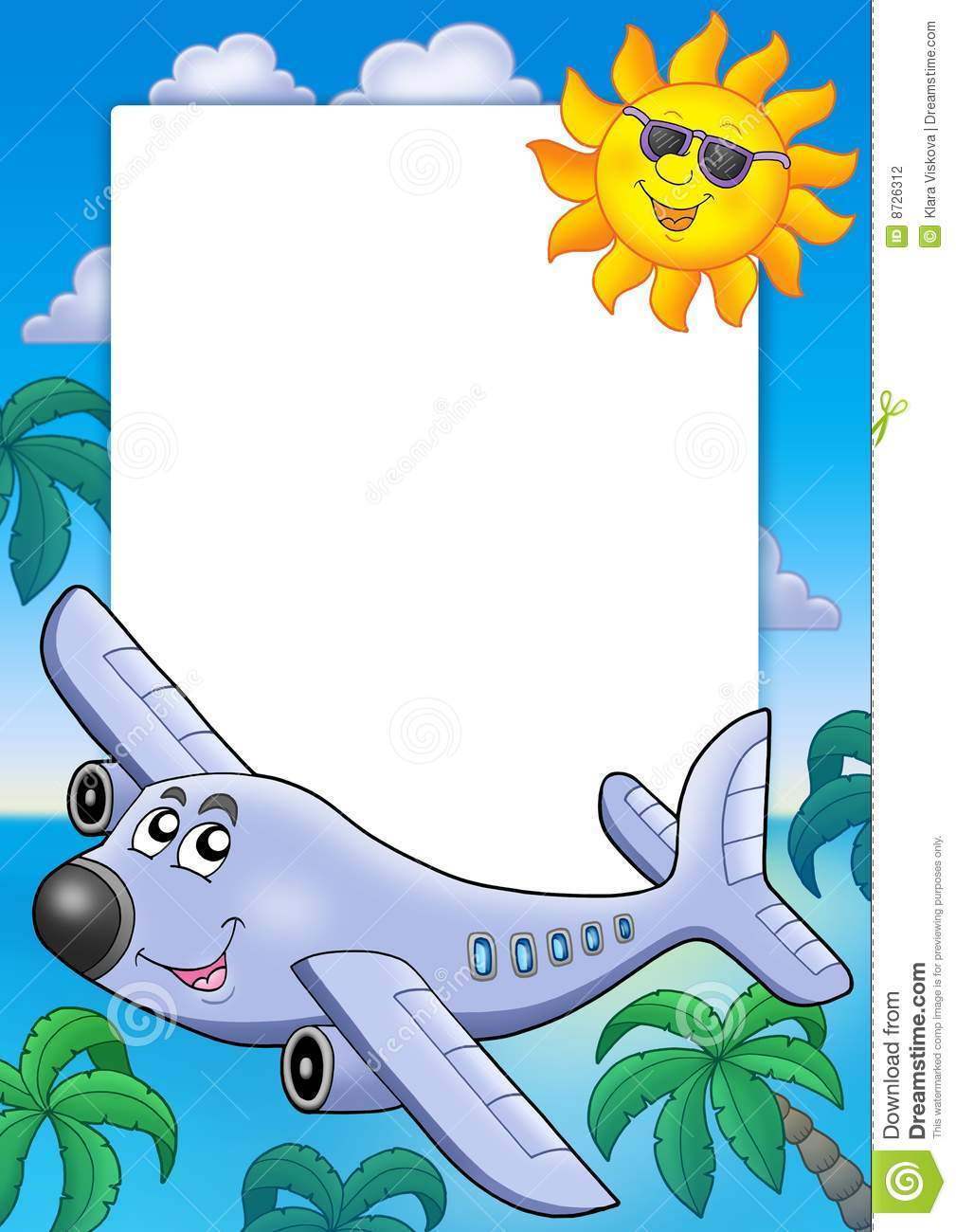 Frame With Sun And Airplane Stock Photography Image 8726312