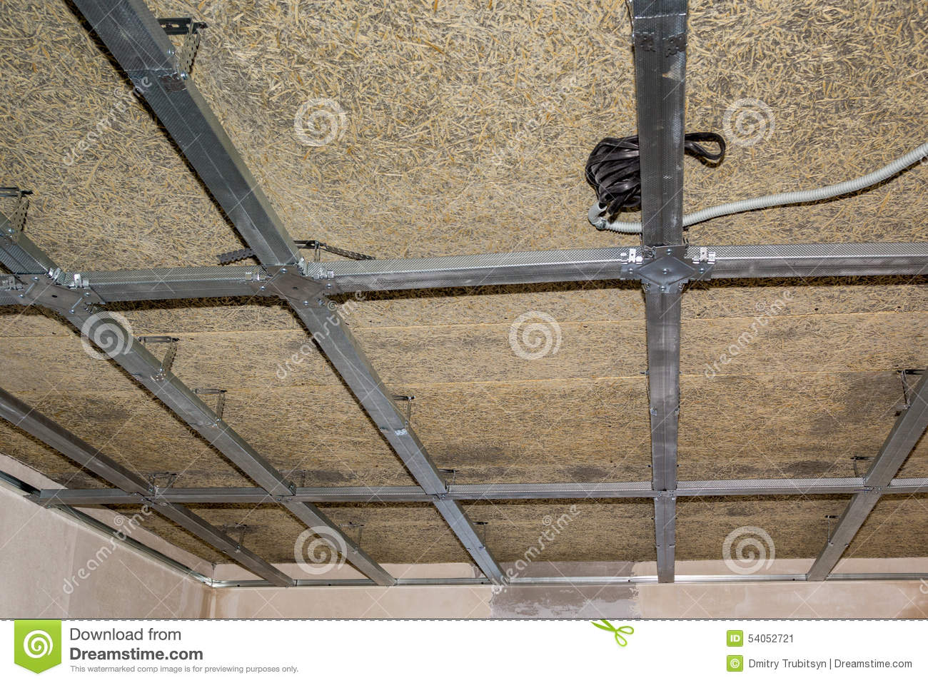 Frame Of Suspended Ceiling, Wiring And Fiberboard Stock Image ...